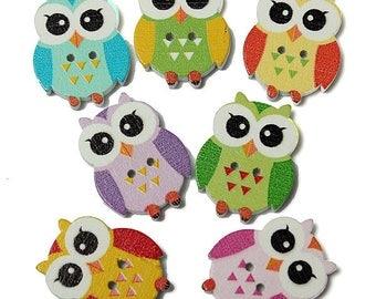 Owl buttons 1x10 pack sew make  crafts cartoons