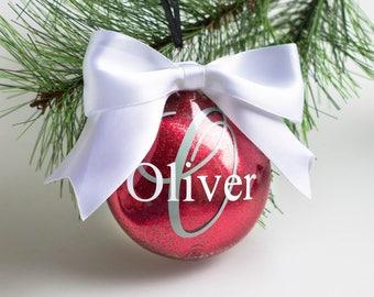Red Custom Glitter Ornament - Name Glitter Ornament - Initial Glitter Ornament - Personalized Ornament - Monogram Ornament - 2017 Ornament