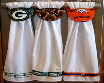 Green Bay Packers Kitchen Towel, Denver Broncos Kitchen Towel, 6.66 each when 3 are ordered! Football Towel, Baseball Hanging Kitchen Towels