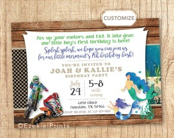 Double Birthday Invitation, Combined Birthday Invitation, Brother and Sister Birthday Invitation, Dual Themes, Dirt Bike, Mermaid