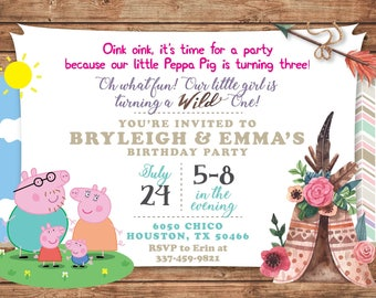 Double Birthday Invitation, Combined Birthday Invitation, Sister and Sister Birthday Invitation, Dual Themes, Peppa Pig, Tribal, Wild One