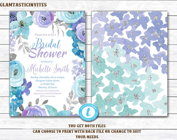 Floral Bridal Shower Invitation, Editable Watercolor Floral Bridal Shower Invitation, Printable, Floral Bridal Shower Invitation Template