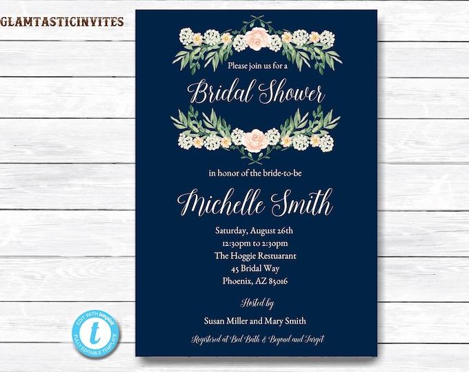 Bridal Shower Invitation, Navy Blue Bridal Shower Invitation, Floral Bridal Shower Invitation, Flower Bridal Shower Invitation,Bridal Shower