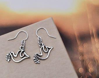 Dove Earrings - Peace Dove Jewelry - Small bird earrings - cute little bird earrings - Doves earrings - peace doves