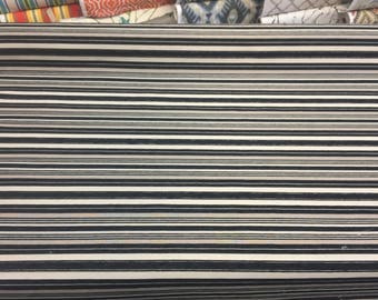 Black Silver Striped Fabric Chenille upholstery Fabric by the yard