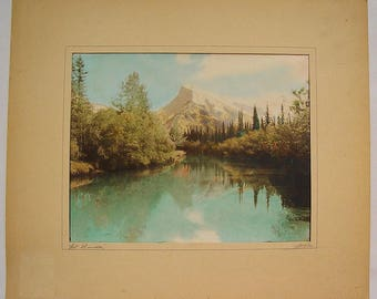 Vintage George Noble Hand-Tinted Photograph Mount Rundle, Banff, Alberta, Canada