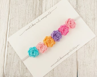 pastel rainbow felt flower crown, felt flower crown, flower headband, felt flower headband, rainbow baby headband, felt flower headband