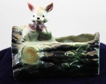Vintage Shaffer Vintage Bunny Rabbit on a log Planter 1950's 1960'S