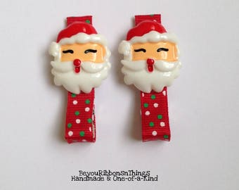 Santa | Dots | Hair Clips for Girls | Toddler Barrette | Kids Hair Accessories | Grosgrain Ribbon | No Slip Grip | Holidays