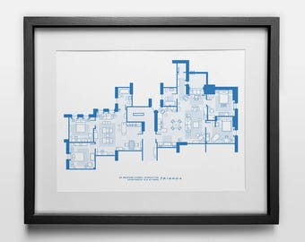 Blueprint poster etsy friends apartment blueprint poster print tv show aniston leblanc cox perry malvernweather Image collections