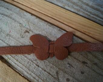 Butterfly Brown Leather Bracelet