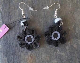 Earrings black electrical wire