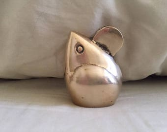 Vintage Adorable Brass Mouse Figurine