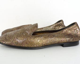 90s Metallic Leather Loafers Bronze Paisley Floral Flats Joan David Slip On Leather Flats Womens Shoes Size 6 B