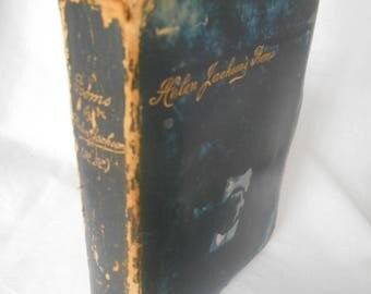 Very Rare Helen H. H. Jackson's Poems Poetry Verses Full Blue LEATHER Covers, gilt titles and text block edges 1888