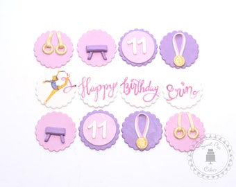 Gymnastics Fondant Cupcake Toppers - set of 12