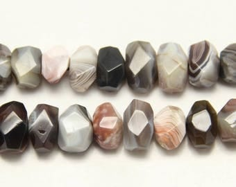 High Quality,Raw Natural Botswana Agate Nugget Beads,Drillded Striped Agate Gemstone Rondelle Beads,12-15x16-22mm