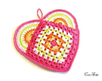 Hot Pink crochet heart potholder,  presina fucsia a forma di cuore all'uncinetto