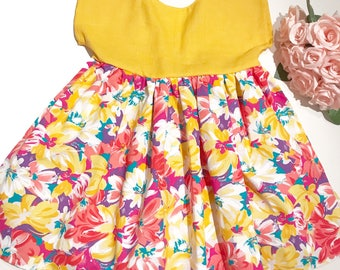 Yellow dress, floral girls dress, spring dress, summer wardrobe, floral yellow dress, girls party dress, occasion dress