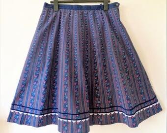 Blue Floral Dirndl Skirt, Lace Velvet Trim, German Dirndl, Floral Print Dirndl, Octoberfest Clothing, Size EU 48/ US 18
