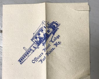 Vintage Napkin from The Officers Hunt Lodge in Fort Knox Kentucky Military