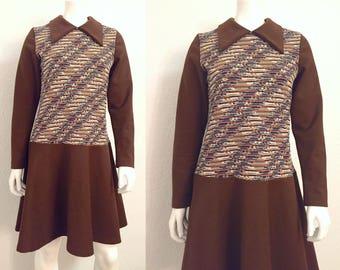 Vintage Dress / 1970s Dress / 70s Dress / Groovy Dress / Retro Dress / Midi Dress / Long Sleeved Dress / Large Dress / Medium Dress