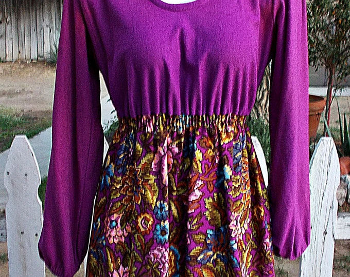 Vintage 70s Psychedelic Beeline Fashions Womens Purple Floral Cotton Blend Hostess Lounge Floor-length Maxi Dress S.