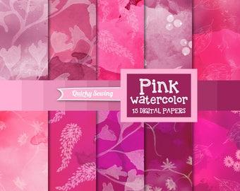 Pink Watercolor Digital Paper, Floral Watercolor Digital Paper, Spring Watercolor Background, Romantic Watercolor Texture, Scrapbook Paper