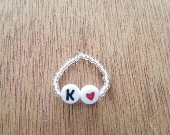 Custom initial beaded ring