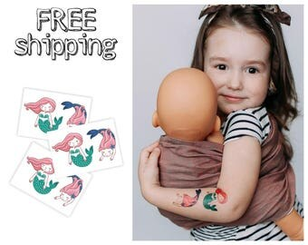 Set of 3 tatts «Mermaids». Kids temporary tattoos with cartoon marine friends. Playdate and party bag supply. TT188