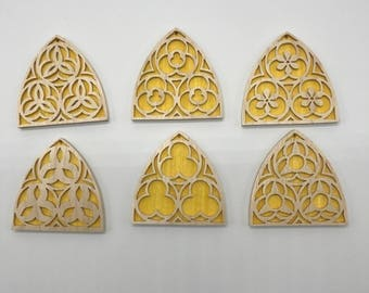 Gothic Church Window Ornament Set - Maple & Yellow Veneer
