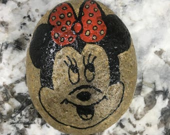 Hand Painted Minnie Mouse Rock- Never Stop Dreaming