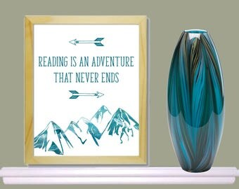 Instant digital download, printable,reading poster, classroom, reading is an adventure, 8x10