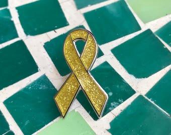 Gold awareness ribbon pins - Childhood cancer, Embryonal Rhabdomyosarcoma, Neuroblastoma Osteosarcoma, Alveolar Rhabdomyosarco