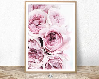 Peony Print, Peonies Wall Art, Blush Pastel Pink and Black Bedroom Decor, Large Printable Digital Download, Flower Photography, Poster Print