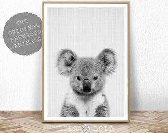 Koala Print, Baby Shower Gift, Wall Art, Nursery Printable, Instant Digital Download, Black White and Grey Decor, Nursery Koala Baby Bear