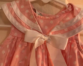 12 month pink and white polka dot dress