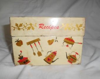 Vintage 1960's Kitchen Utensils Folk Lore Decor Metal Recipe Box with Original Recipes
