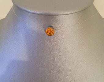 Wire nylon 7 mm Swarovski topaz rhinestone necklace