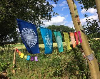 Sacred geometry prayer flags