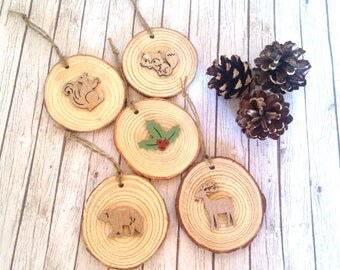 Woodland tree decorations, rustic Christmas decoration, woodland Christmas tree wood slice decorations, woodland Christmas tree baubles
