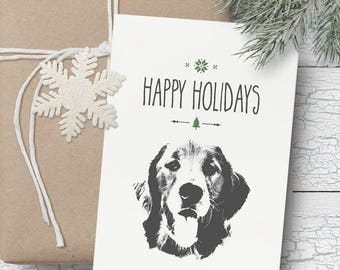 Golden Retriever Christmas card- Blank Christmas card, Christmas card, dog themed Christmas card, puppy Christmas card, Golden Retriever