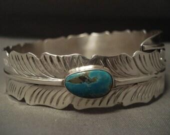 Ultra Rare Vintage Navajo Ben Begaye Turquoise Silver Bangle Bracelet