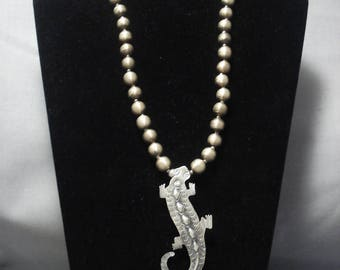 Amazing Vintage Navajo Gecko Yazzie Sterling Silver Necklace