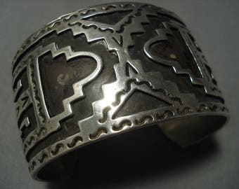 Thick And Wide!! Vintage Navajo Sterling Silver Bracelet