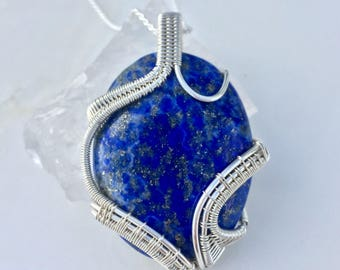 Lapis Lazuli - Sterling Silver Pendant - Wire Wrapped Jewelry - Egyptian Stone of the Gods - Lapis Lazuli Necklace - Handmade Jewelry Blue