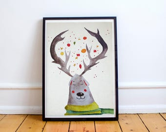 Reindeer and christmas watercolor illustration wall hanging home decor print art nursery childrens room decor baby shower gift