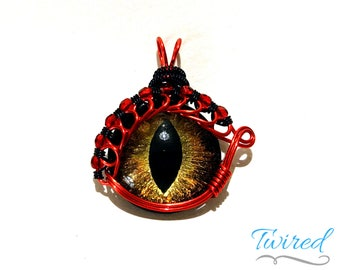 Gold Hand-Painted Dragon Eye Pendant w/Red & Black Beaded Wire Wrap (with Necklace)