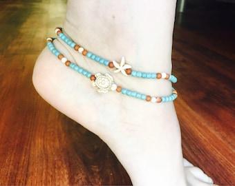 Blue turquoise anklet sea turtle anklet beach anklets blue ankle bracelet summer anklets sea turtle jewelry summer jewelry turquoise gifts