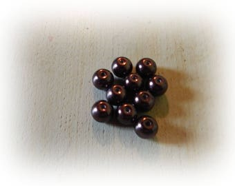 10 round chocolate Pearl effect glass beads - 10 mm